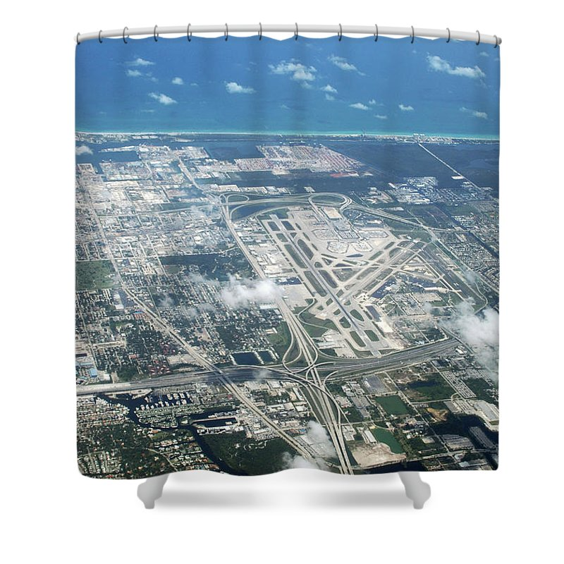 United States Of America Shower Curtain featuring the photograph Aerial View Of Fort Lauderdale Airport. Fll by Richard Wareham