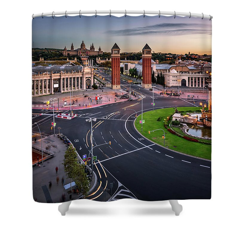 Aerial Shower Curtain featuring the photograph Aerial View On Placa Espanya And Montjuic Hill With National Art by Andrey Omelyanchuk