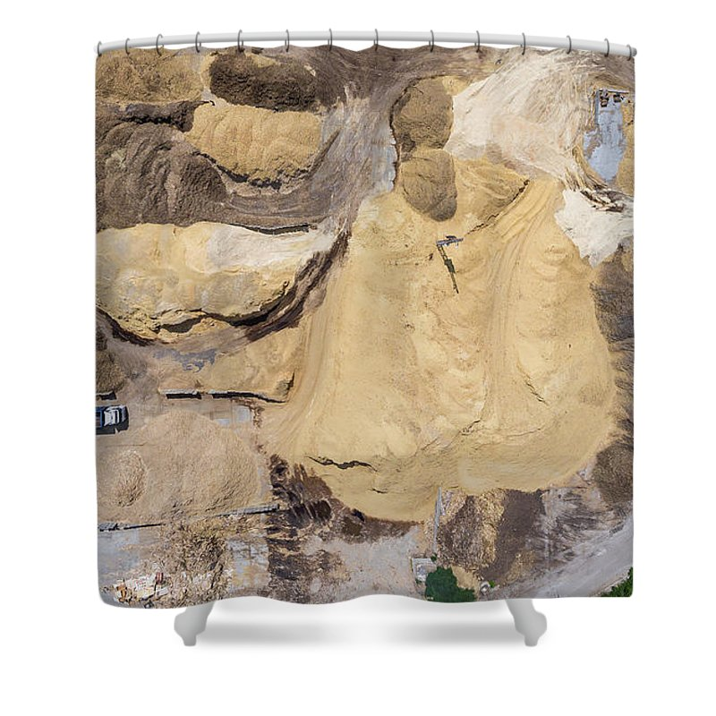 Above Shower Curtain featuring the photograph Aerial View Over The Sandpit. Industrial Place In Poland. by Mariusz Prusaczyk