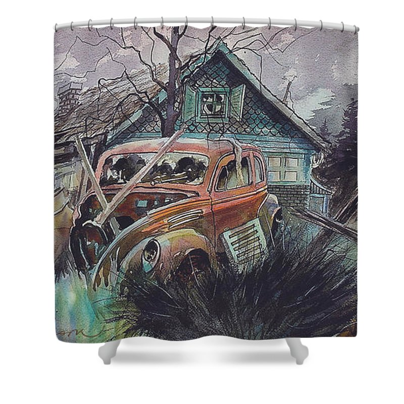 Ford Shower Curtain featuring the painting Affordable by Ron Morrison