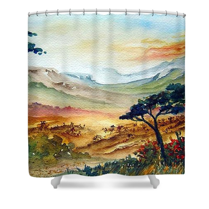 Africa Shower Curtain featuring the painting Africa by Joanne Smoley