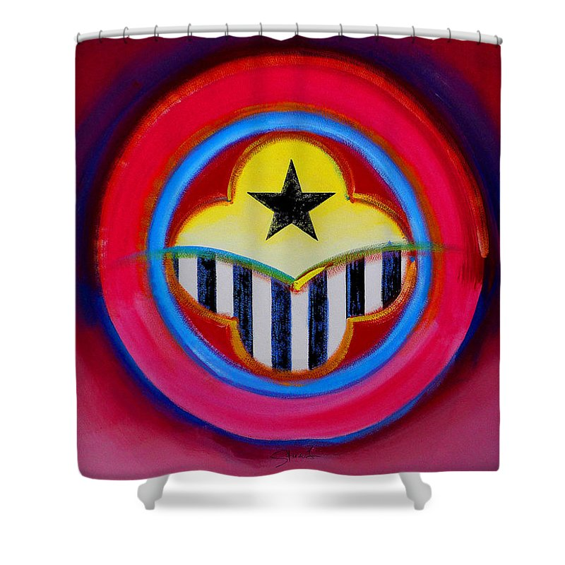 Button Shower Curtain featuring the painting African American by Charles Stuart