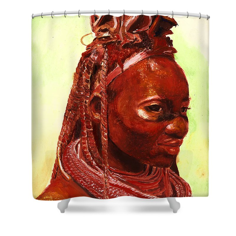 People Portrait Shower Curtain featuring the painting African Beauty by Portraits By NC