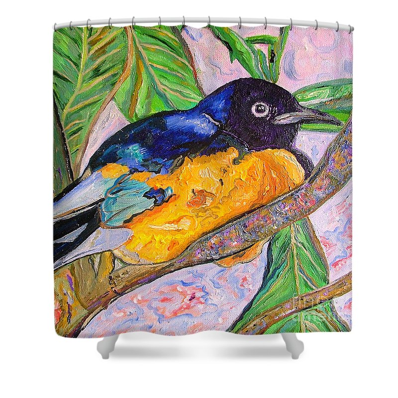 Starling Shower Curtain featuring the painting African Blue Eared Starling by Heather Lennox