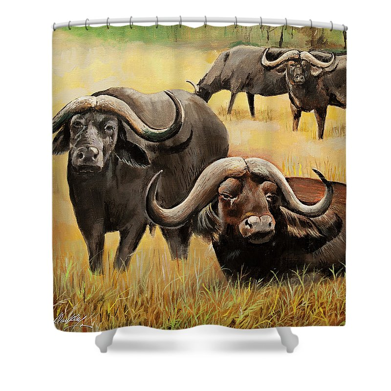 African Buffalo Shower Curtain For Sale By Bill Dunkley