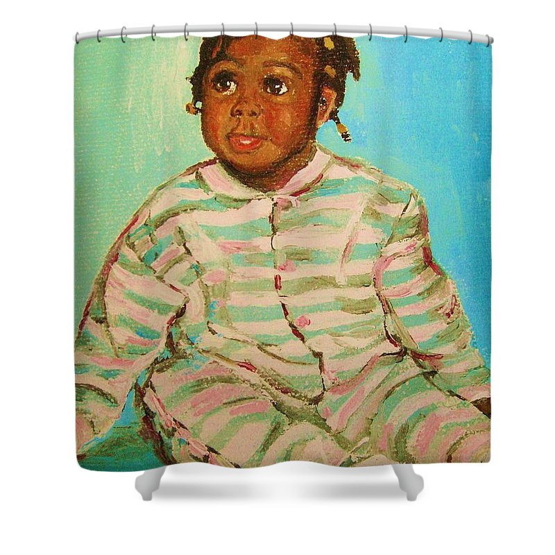 Africa Shower Curtain featuring the painting African Cutie by Carole Spandau