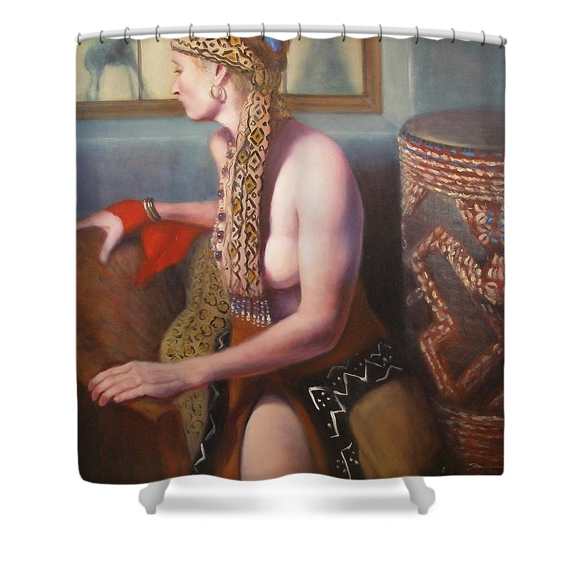 Realism Shower Curtain featuring the painting African Drum 1 by Donelli DiMaria