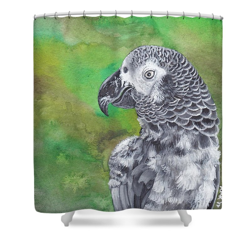 Africa Shower Curtain featuring the painting African Grey Parrot by Katherine Klimitas