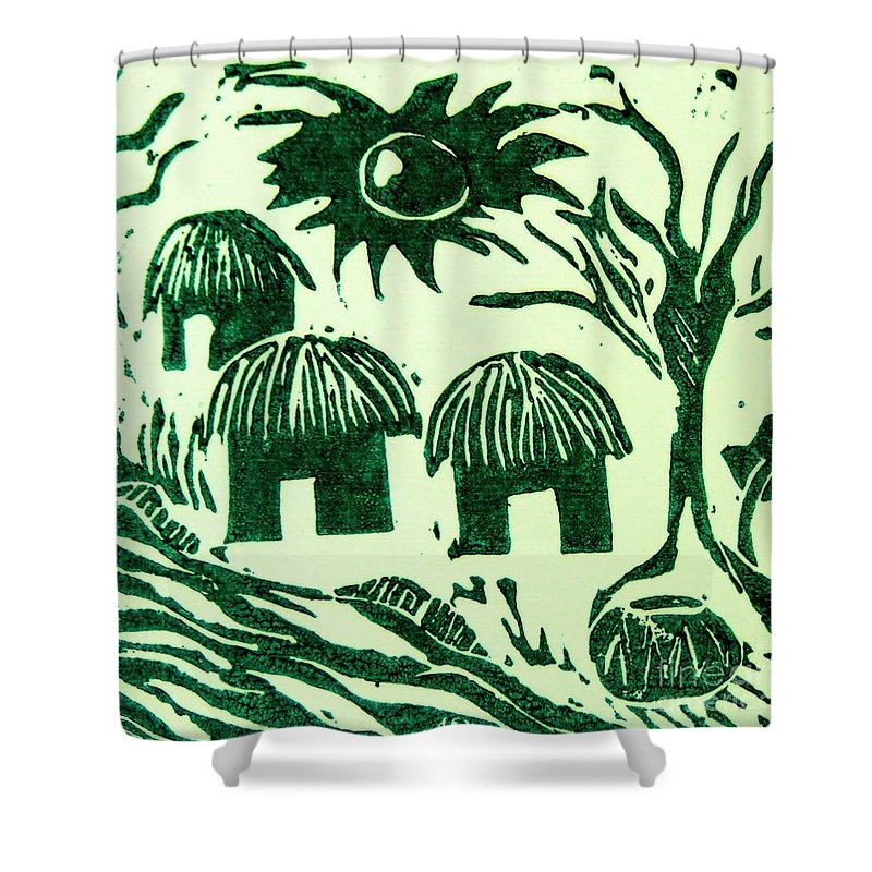 Lino Cutting Shower Curtain featuring the relief African Huts by Caroline Street