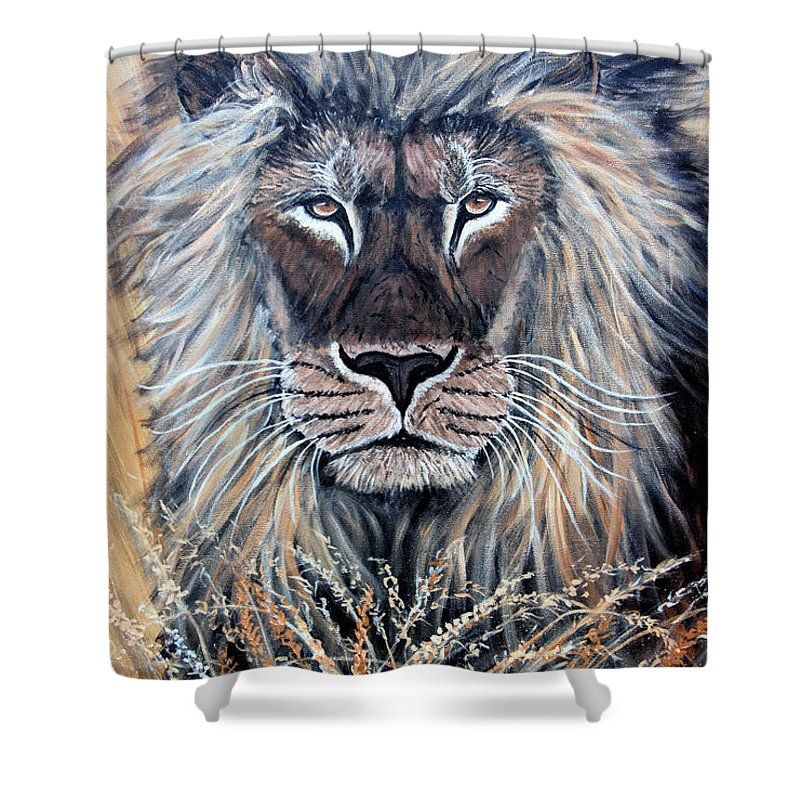 Lion Shower Curtain featuring the painting African Lion by Nick Gustafson
