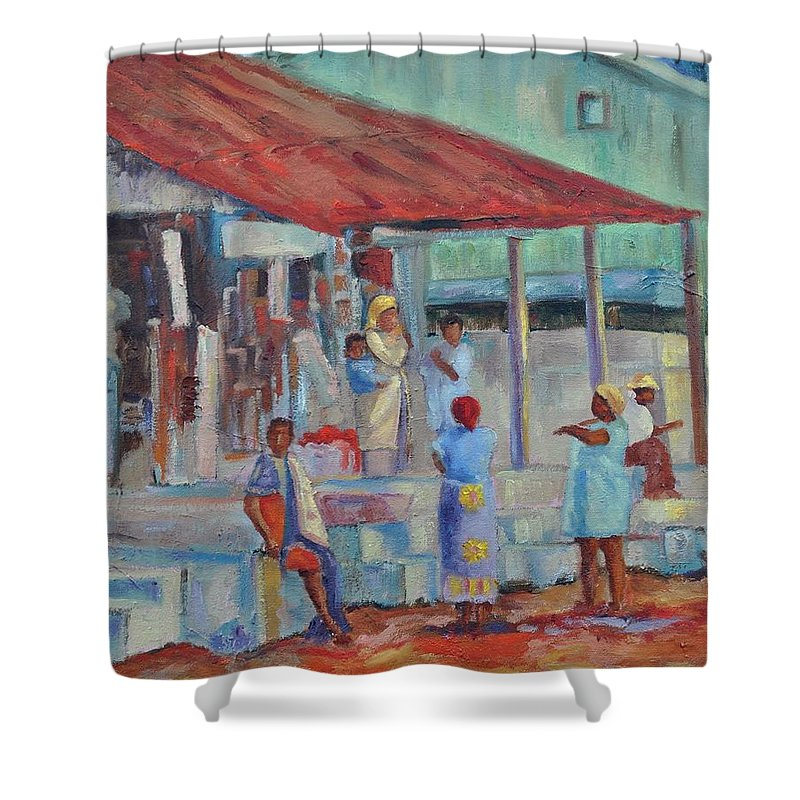 African Market Shower Curtain featuring the painting African Market by Ginger Concepcion