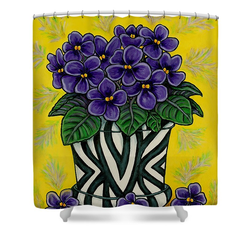 Violets Shower Curtain featuring the painting African Queen by Lisa Lorenz