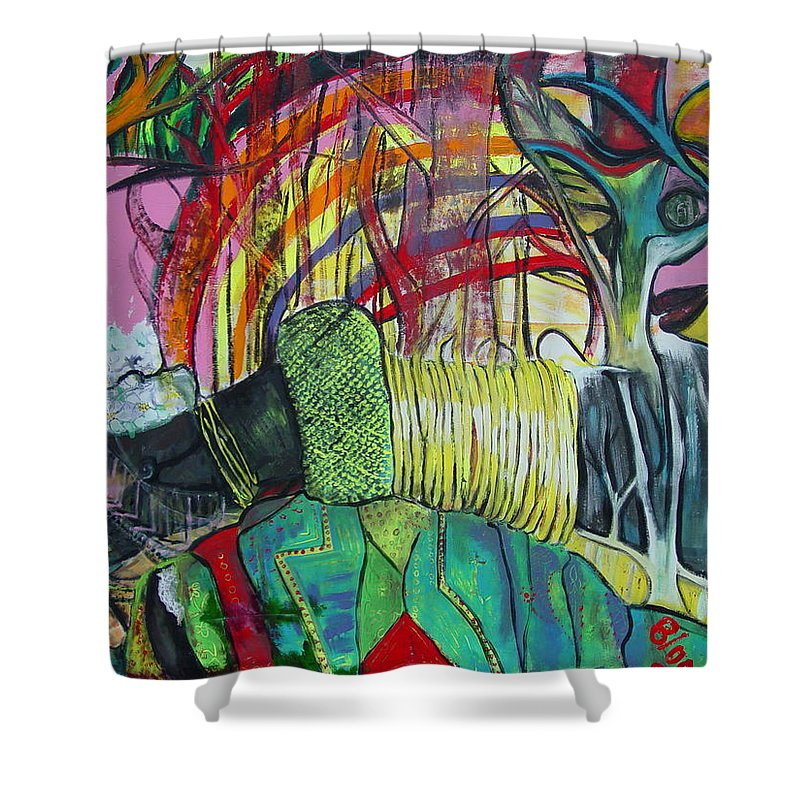 African Lady With Baby Shower Curtain featuring the painting African Roots by Peggy Blood