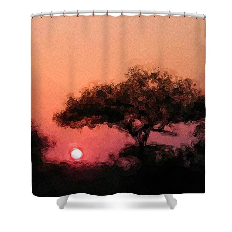 Digital Photography Shower Curtain featuring the photograph African Sunset by David Lane