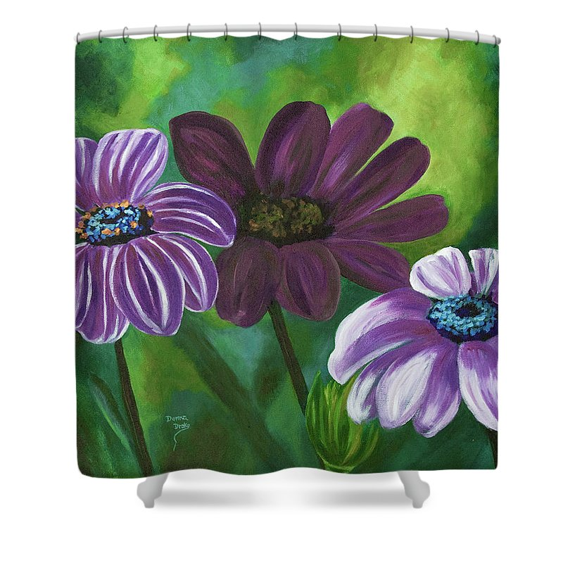 Floral Shower Curtain featuring the painting African Violets by Donna Drake
