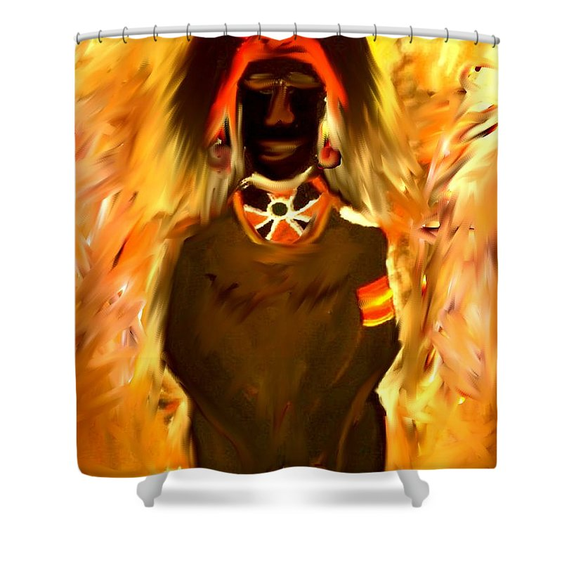 African Shower Curtain featuring the painting African Warrior by Kelly Turner
