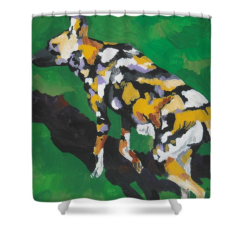 Wild Dog Shower Curtain featuring the painting African Wild Dog by Caroline Davis