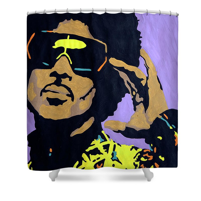 Prince Shower Curtain Featuring The Painting Afro By Stormm Bradshaw