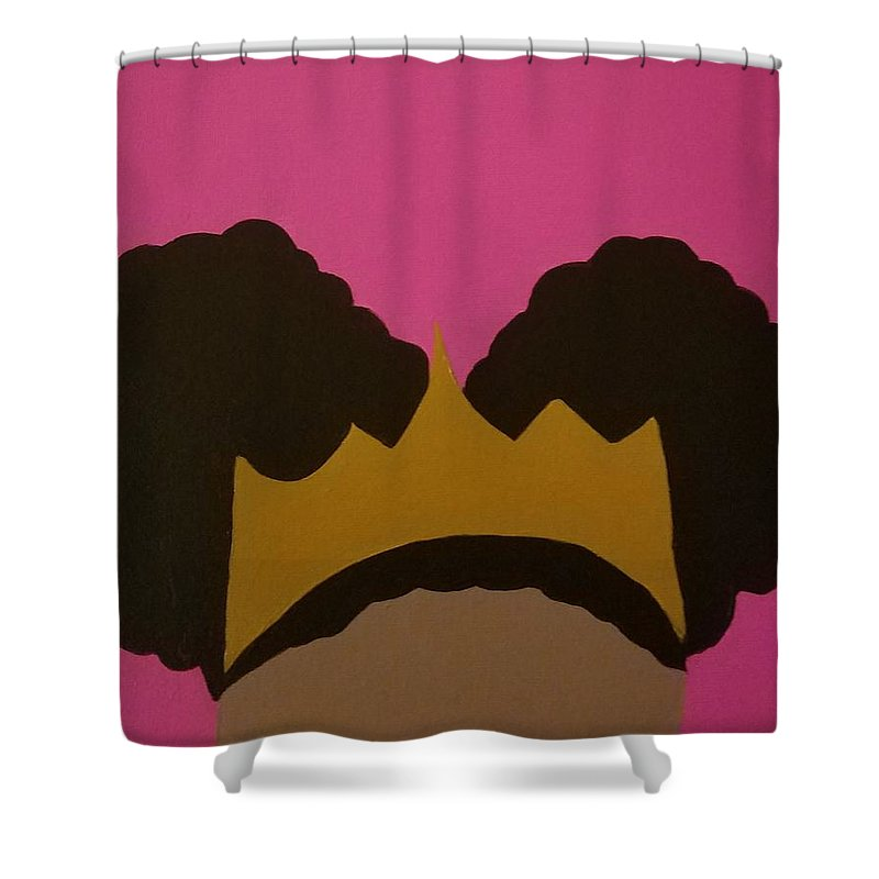 Afro Puff Shower Curtain Featuring The Painting Princess By Candice Henderson