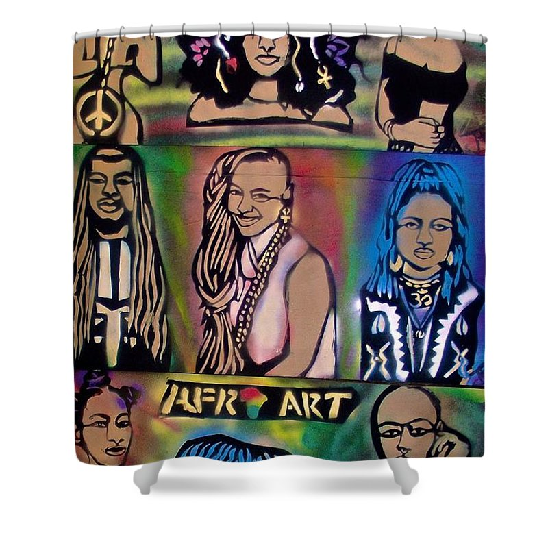 Black Shower Curtain Featuring The Painting Afro Punk Funky People By Tony B Conscious