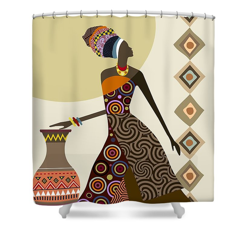 African Woman Art Shower Curtain Featuring The Painting Afrocentric Chic IIi By Lanre Studio