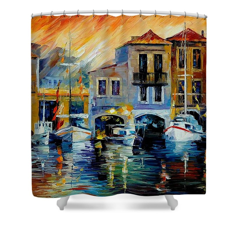 Afremov Shower Curtain featuring the painting After A Day's Work by Leonid Afremov
