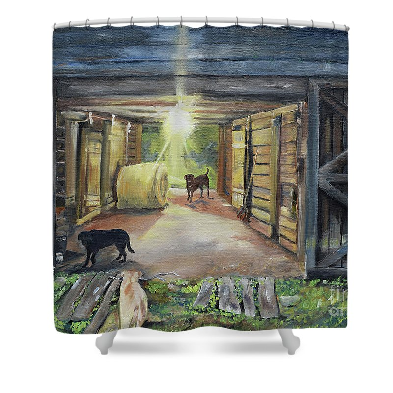 Barn Shower Curtain featuring the painting After Hours In Pa's Barn - Barn Lights - Labs by Jan Dappen