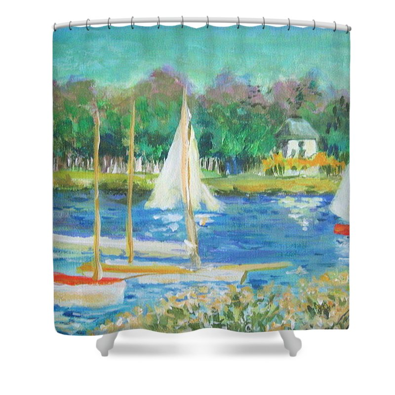 Water Shower Curtain featuring the painting After Monet by Melody Horton Karandjeff