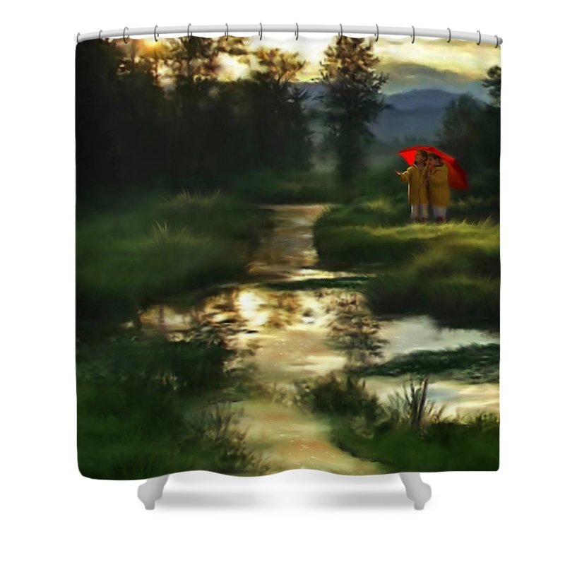 Boys Shower Curtain featuring the digital art After Morning Rain by Stephen Lucas