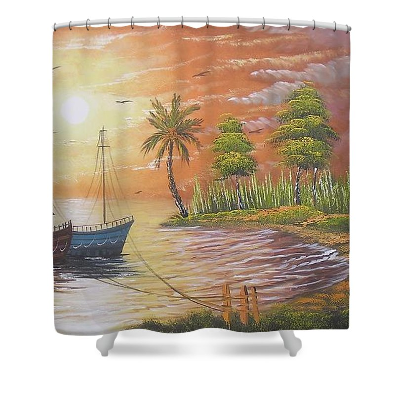 Canvas Shower Curtain featuring the painting After Noon Scene by Pisces Art Word