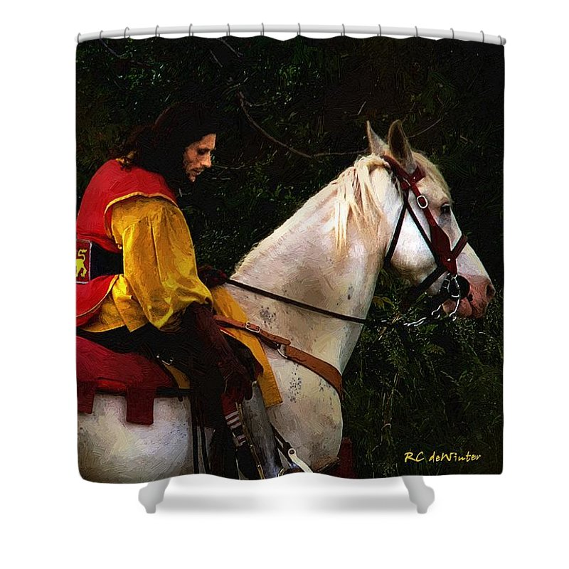 Horse Shower Curtain featuring the painting After The Battle by RC DeWinter