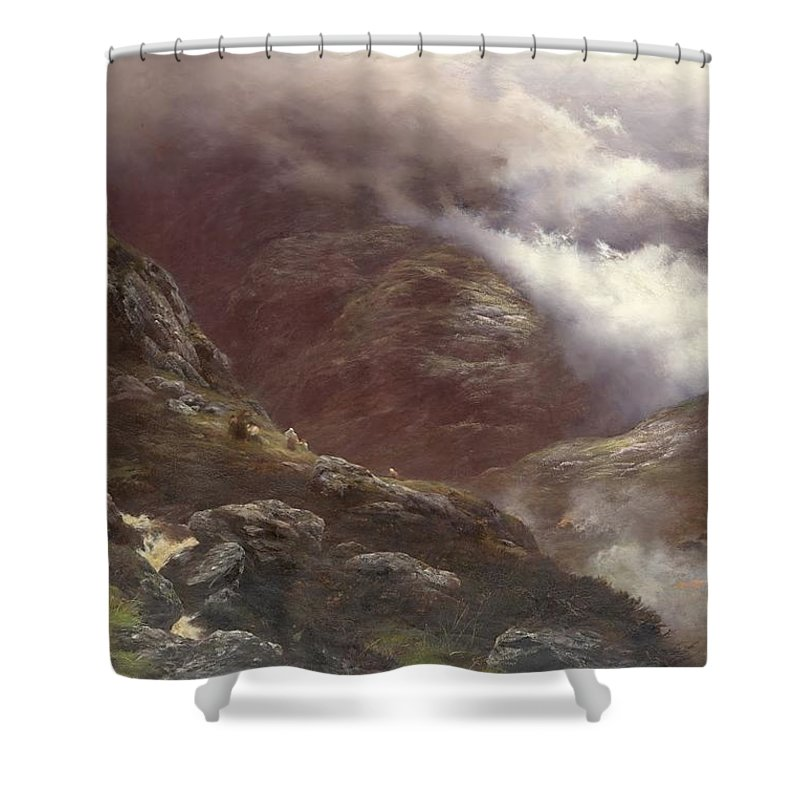 Peter Graham - After The Massacre Of Glencoe 1889 Shower Curtain featuring the painting After The Massacre Of Glencoe by MotionAge Designs