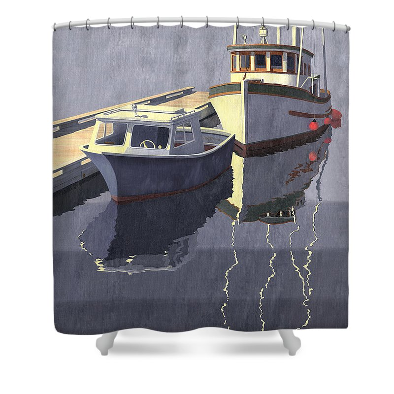 Boat Shower Curtain featuring the painting After The Rain by Gary Giacomelli