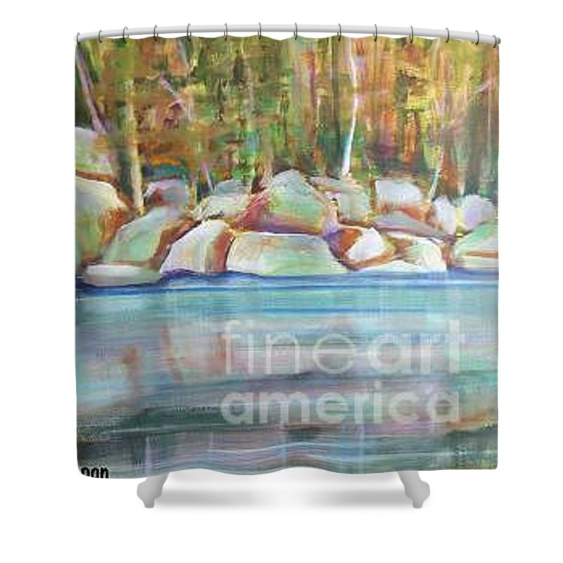 Landscape Shower Curtain featuring the painting After The Rain by Karen Sloan