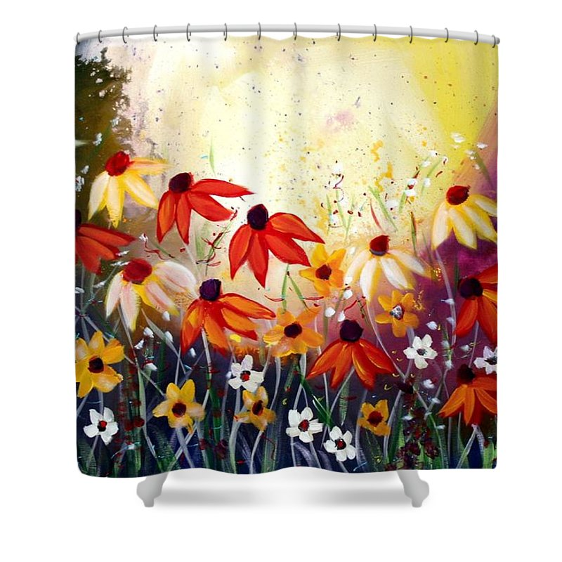 Flowers Shower Curtain featuring the painting After The Rain by Luiza Vizoli