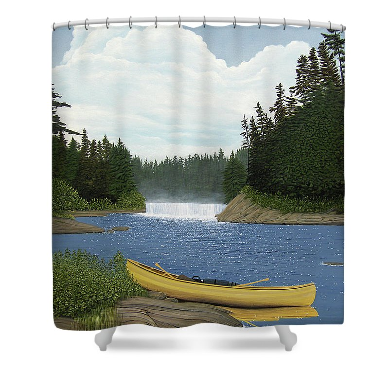 Landscapes Shower Curtain featuring the painting After The Rapids by Kenneth M Kirsch