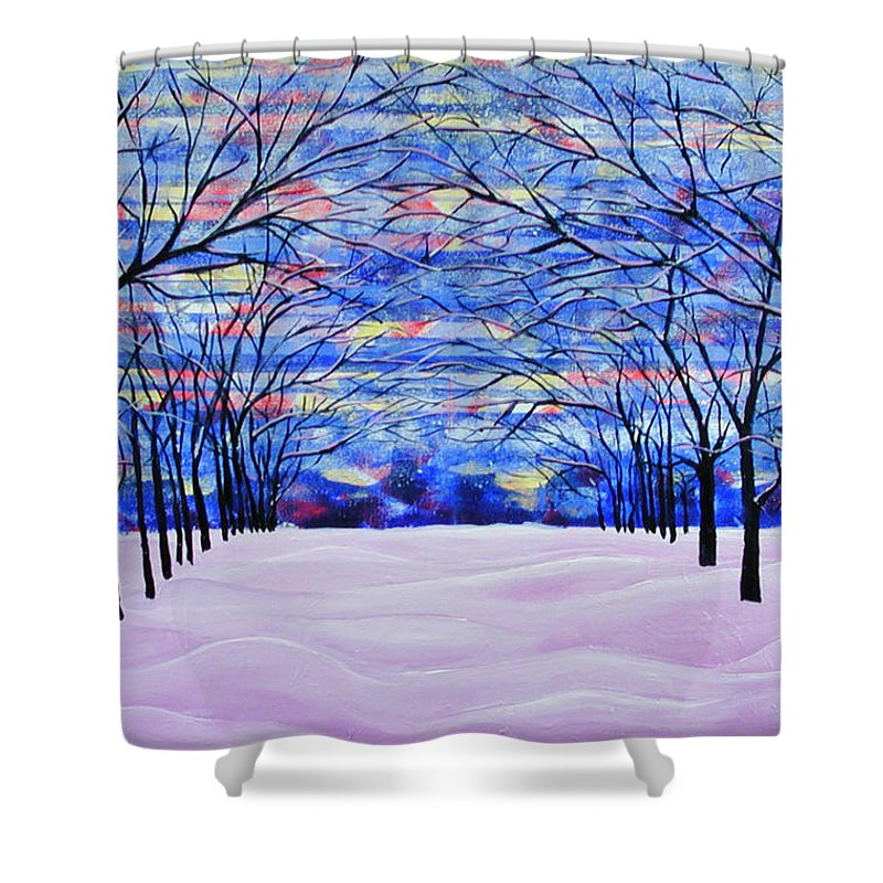 Landscape Shower Curtain featuring the painting After The Snow by Rollin Kocsis
