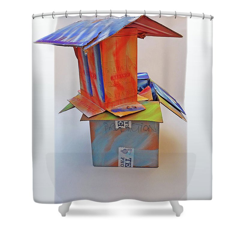House Shower Curtain featuring the mixed media Aftermath 2 by Charles Stuart