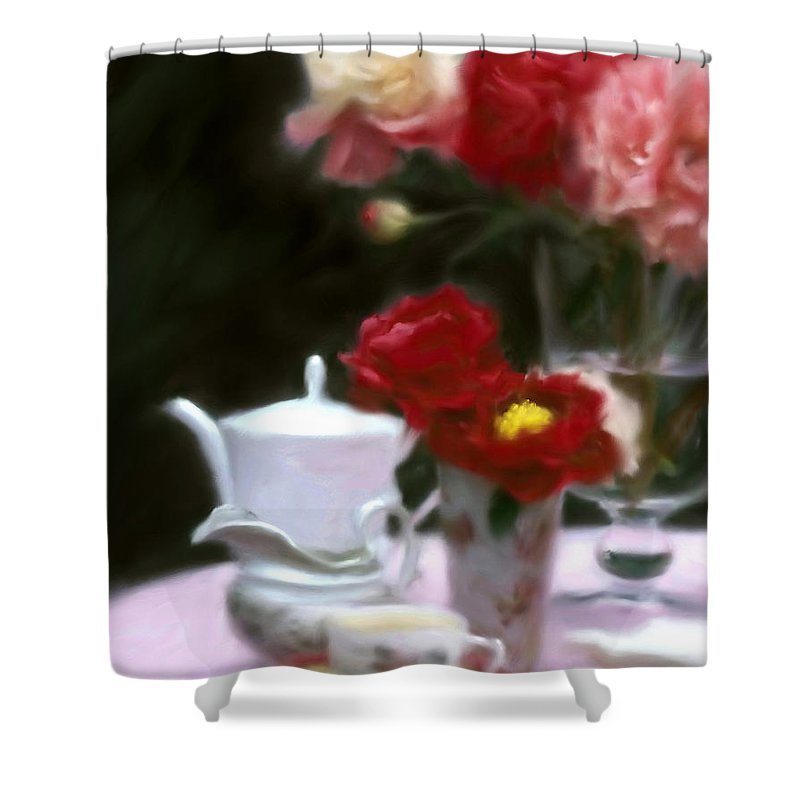 Peonies Shower Curtain featuring the digital art Afternnon Tea With Peonies by Stephen Lucas