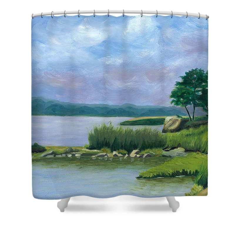 Seascape Shower Curtain featuring the painting Afternoon At Pilgrim by Paula Emery