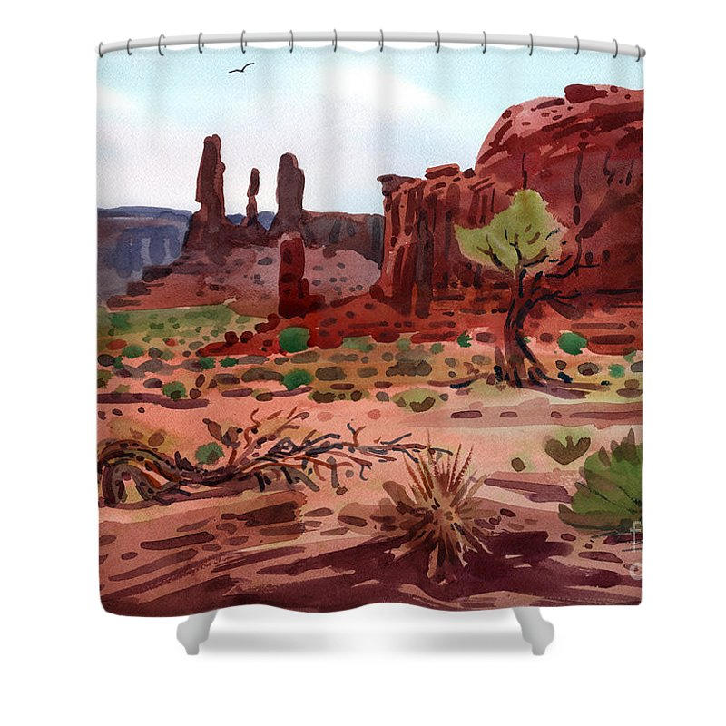 Monument Valley Shower Curtain featuring the painting Afternoon In Monument Valley by Donald Maier