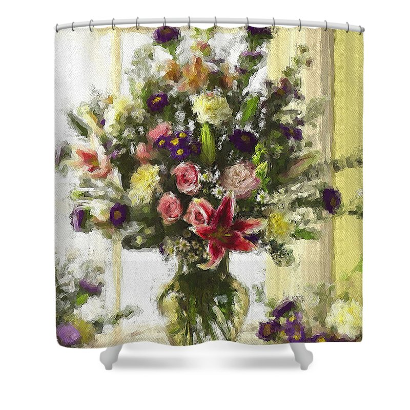 Flowers Shower Curtain featuring the digital art Afternoon Kissed Of Color by Stephen Lucas