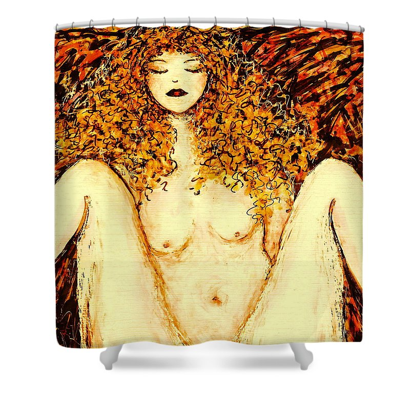 Femme Nue Shower Curtain featuring the painting Afternoon Nap by Natalie Holland