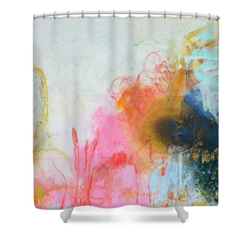 Abstract Shower Curtain featuring the painting Afternoon Snooze by Claire Desjardins