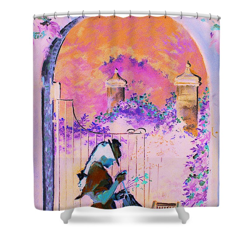 Rose Shower Curtain featuring the painting Afternoon Stroll by Jean Hildebrant