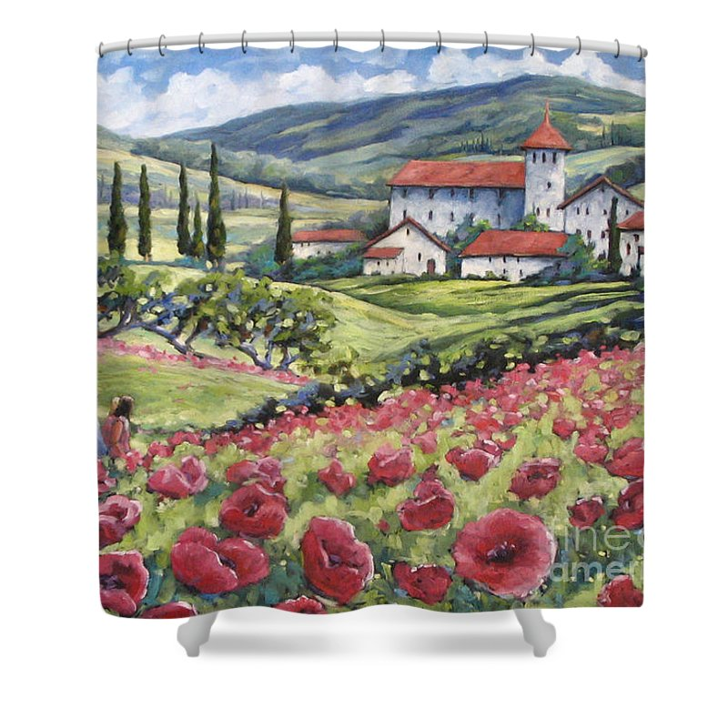 Tuscan Shower Curtain featuring the painting Afternoon Stroll by Richard T Pranke