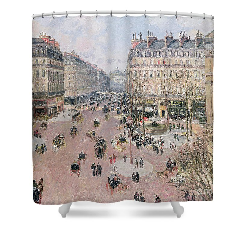 Place Shower Curtain featuring the painting Afternoon Sun In Winter by Camille Pissarro