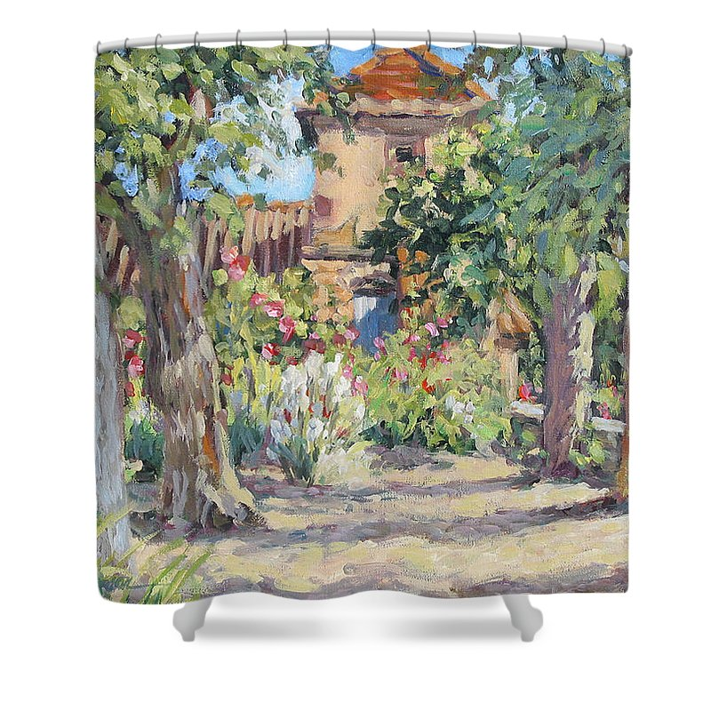 France Shower Curtain featuring the painting Afternoon Tea by L Diane Johnson