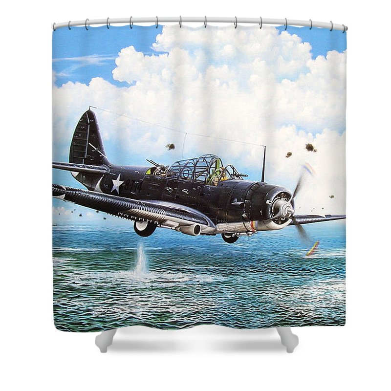 Military Shower Curtain featuring the painting Against The Odds by Marc Stewart