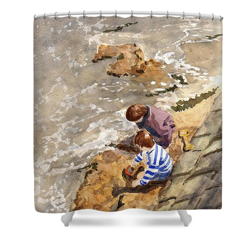 Water. Sea. Tide. Boys. Children. Coast. Beach. Coastal. Sand. Sea. Play. Shower Curtain featuring the painting Against The Tide by John Cox